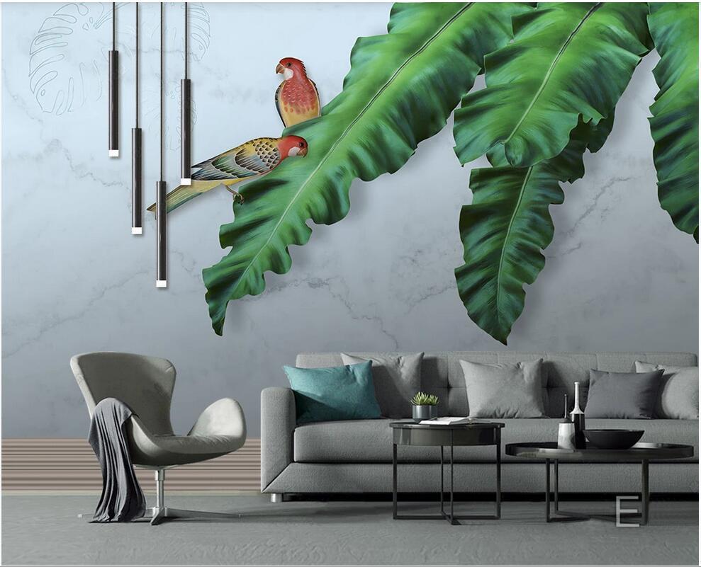 3d пейзажи стены пользовательских росписи обоев HD ручной росписью маслом тропические листья попугая фоне стены современной 3d росписи на стене