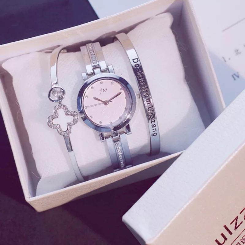 2019 Fashion Gold Lady Wristwatch Luxury Simple Women Bracelet Watches Casual Stylish Female Gift Clock 3 Pcs Set Ulzzang Style T190701