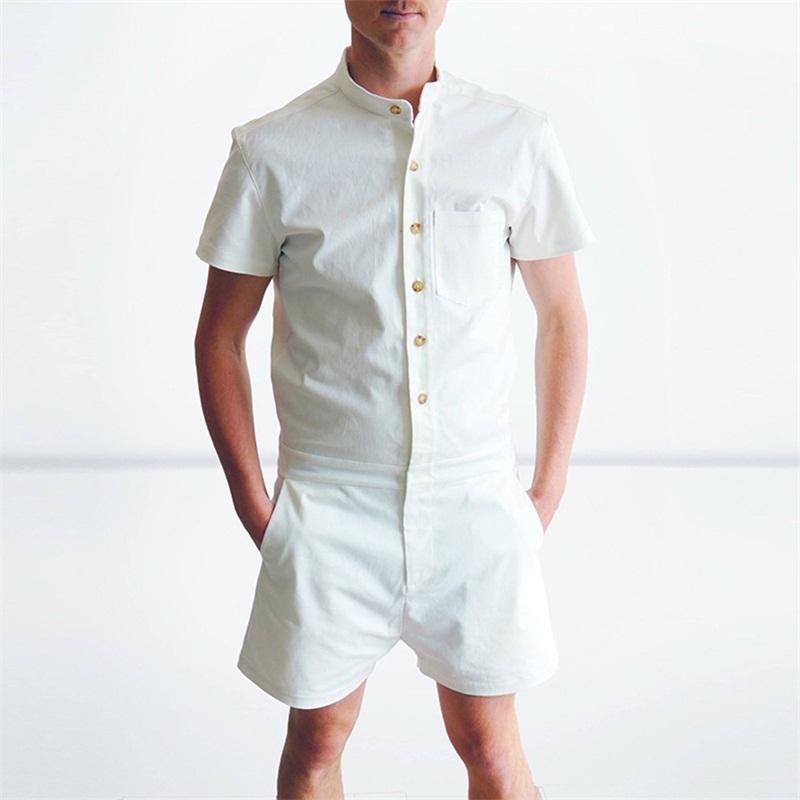 Leqemao verano Monos cargo Pantalones cortos moda Monos manga corta Mamelucos masculino solo breasted zip Pantalones