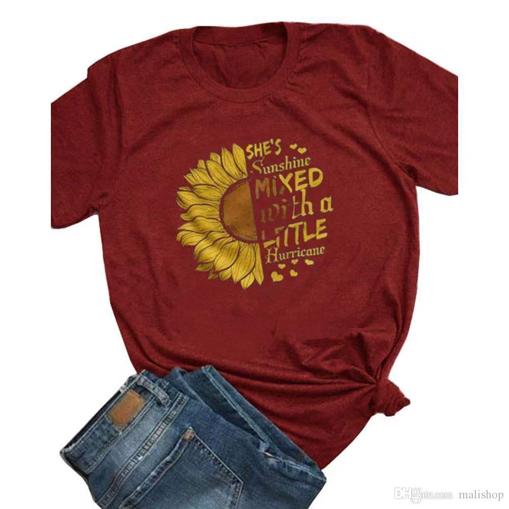 Femmes T-shirts Sun Flower Floral manches courtes d'été Casual New Mode en vrac O Hauts Neck T-Shirt