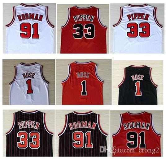 En Kaliteli Erkek Spor Giyim # 1Derrick Gül Jersey Solucan 91 # Dennis Rodman Kırmızı Beyaz Siyah 33 # Scottie Pippen Jersey Dikişli
