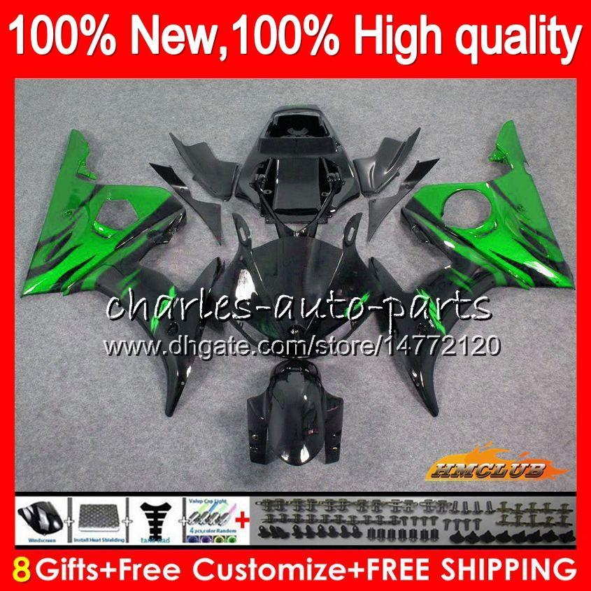 Corpo Kit per YAMAHA YZF 600 R YZF600 6 600cc YZF R6 03-05 59HC.50 YZFR6 YZF600 YZFR6 03 04 05 2003 2004 2005 carenatura + 8Gifts fiamme verdi