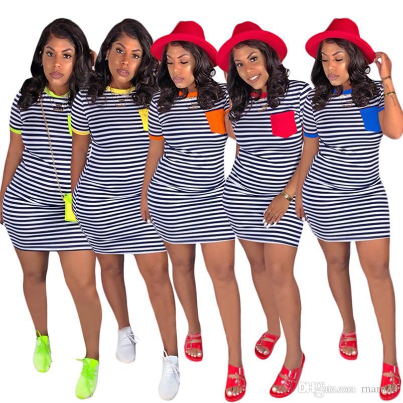 Mulheres designer de verão mini vestidos sexy club bainha coluna beachwear acima do joelho listrado vestidos de festa vestidos de festa frete grátis 915
