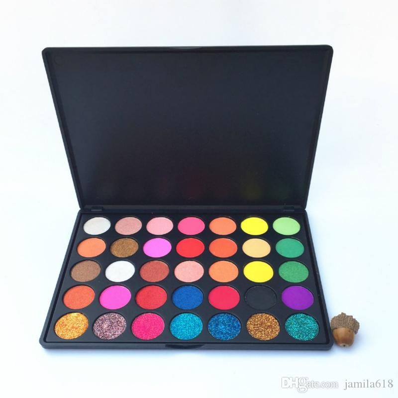 Wholesale Pigmented No Label Makeup 35 Color eyeshadow Palette Glitter Eyeshadows Matte and Shimmer Eye shadow Palette Makeup Palettes