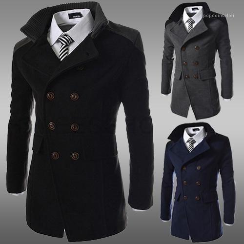 Moda Yaka Boyun Kalın Kış Erkek Coat Çift Breasted Uzun Kollu Erkek Kumaş Erkek Tasarımcı Coats