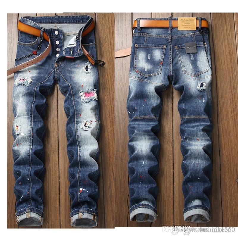 20ss رجال أزياء جينز رجالي سليم السراويل مطاطا بنطلون أزرق فاتح صالح فضفاض القطن الدينيم العلامة التجارية جينز للذكر