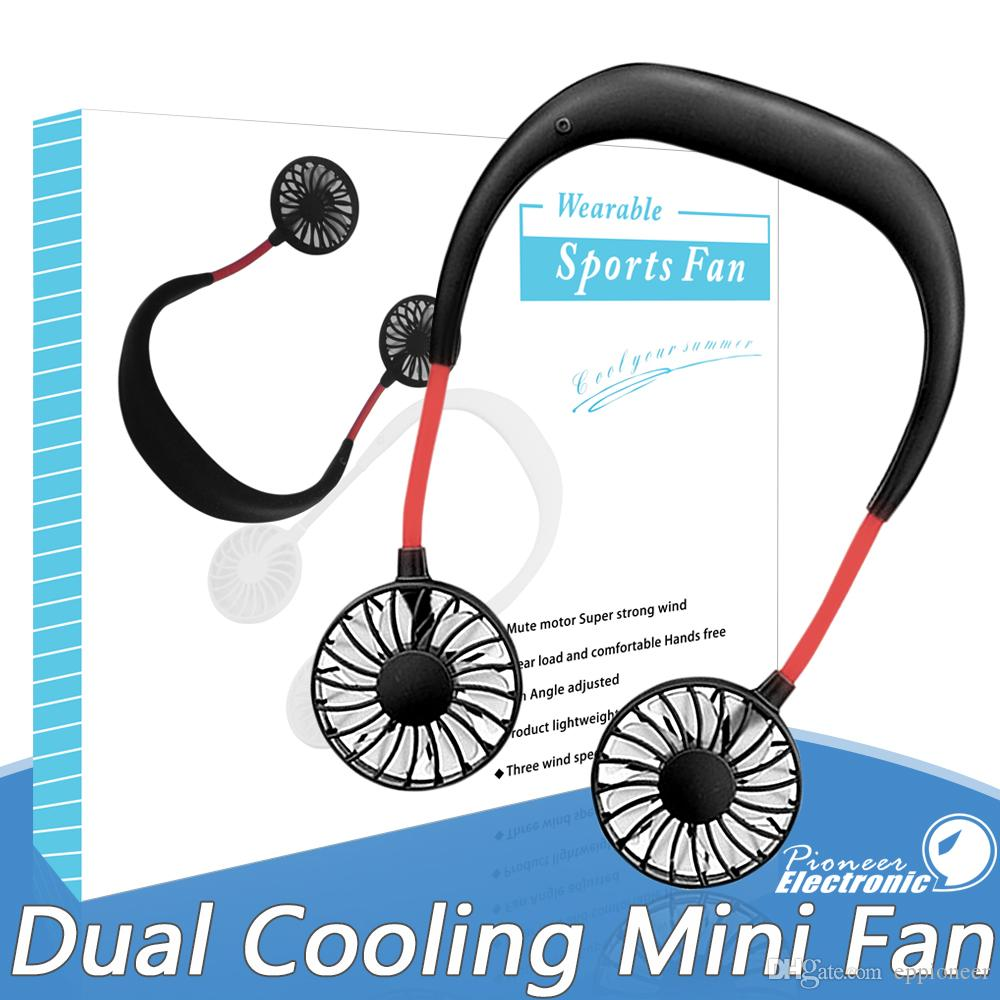 2020 Portable USB Rechargeable Neckband Lazy Neck Hanging Dual Cooling Mini Fan sport 360 degree rotating hanging neck fan