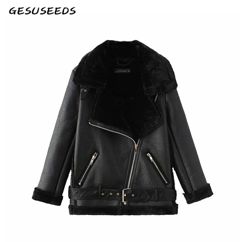 Winter black PU faux leather jacket womens leather jacket with fur collar thick warm moto biker women coat vintage