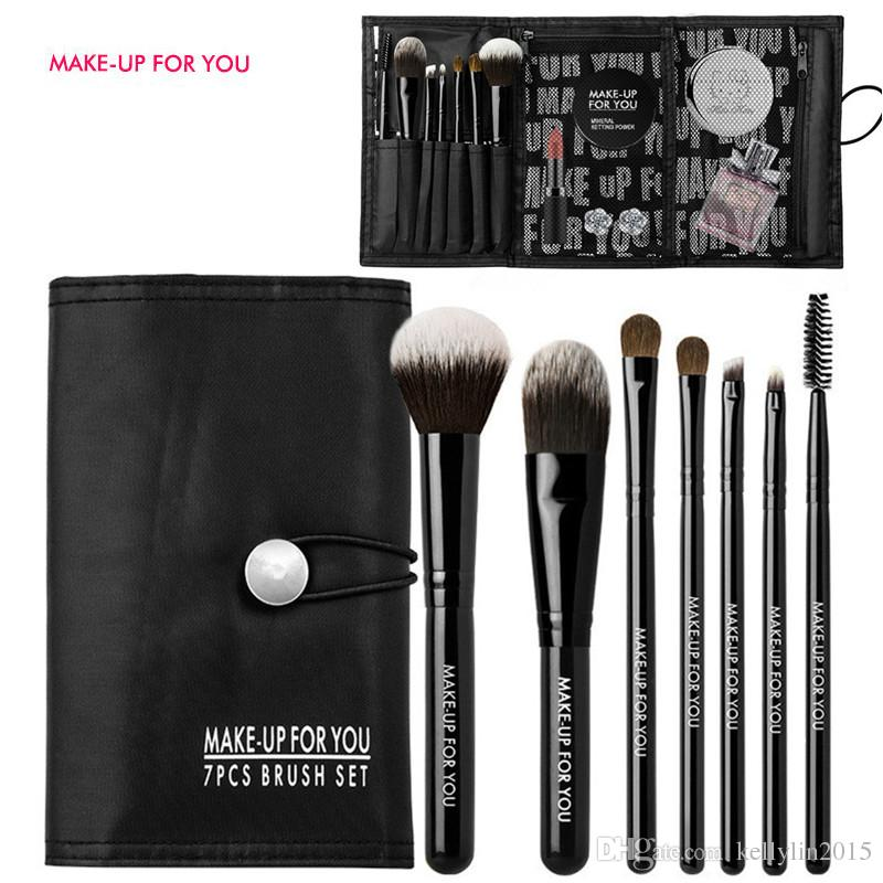 7pcs Makeup Brush Set Professional Horse Hair Black Concealer Eyeshadow Travel Make Up Brushes Kit Tools Lip Eyebrow Eyelash brush with bag