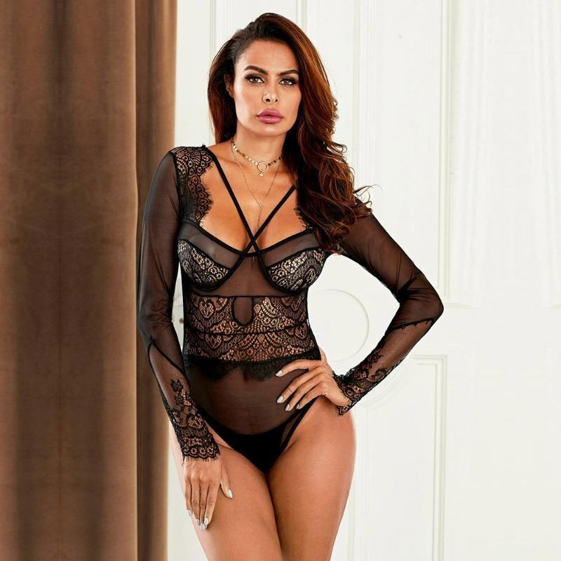 2020 pijamas de las mujeres de la ropa interior atractiva del resorte interior de las mujeres una sola pieza atractivo de los pijamas