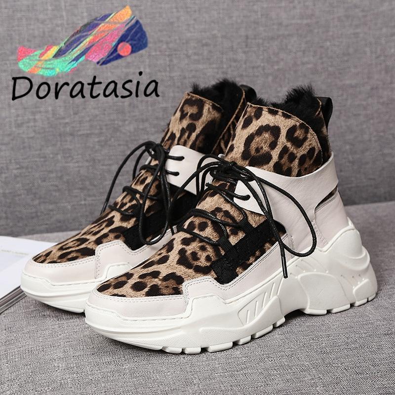 DORATASIA Yeni Bayanlar Marka Kış Moda Leopard Bölünmüş Deri Çizme Kadınlar 2019 Sıcak Platformu Kürk Boots Wedges Ayakkabı Kadın