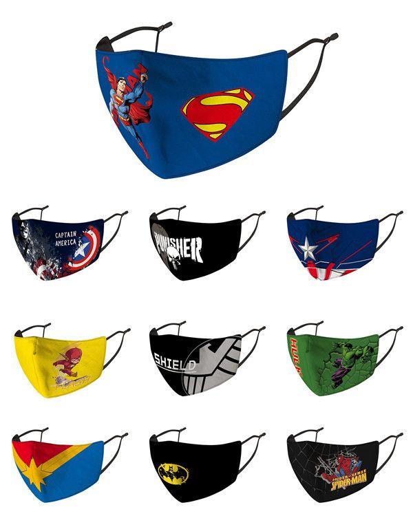 Маска для лица многоразовые и моющийся Kids Face Mask Print Super Hero Человек-паук против РМ2,5 Haze пыле Защитная маска