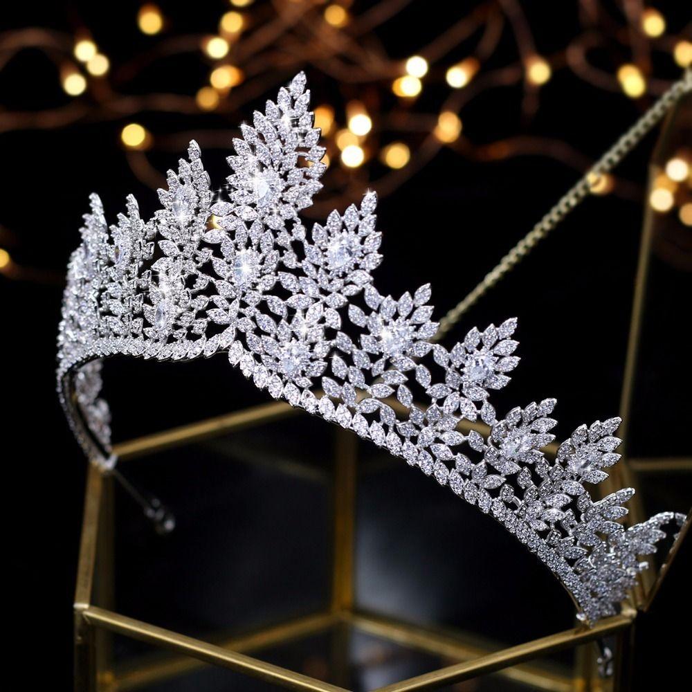 Alta qualità Zirconia Accessori per capelli da sposa Tiara nuziale cerimonia di premiazione Queen Crown J190703