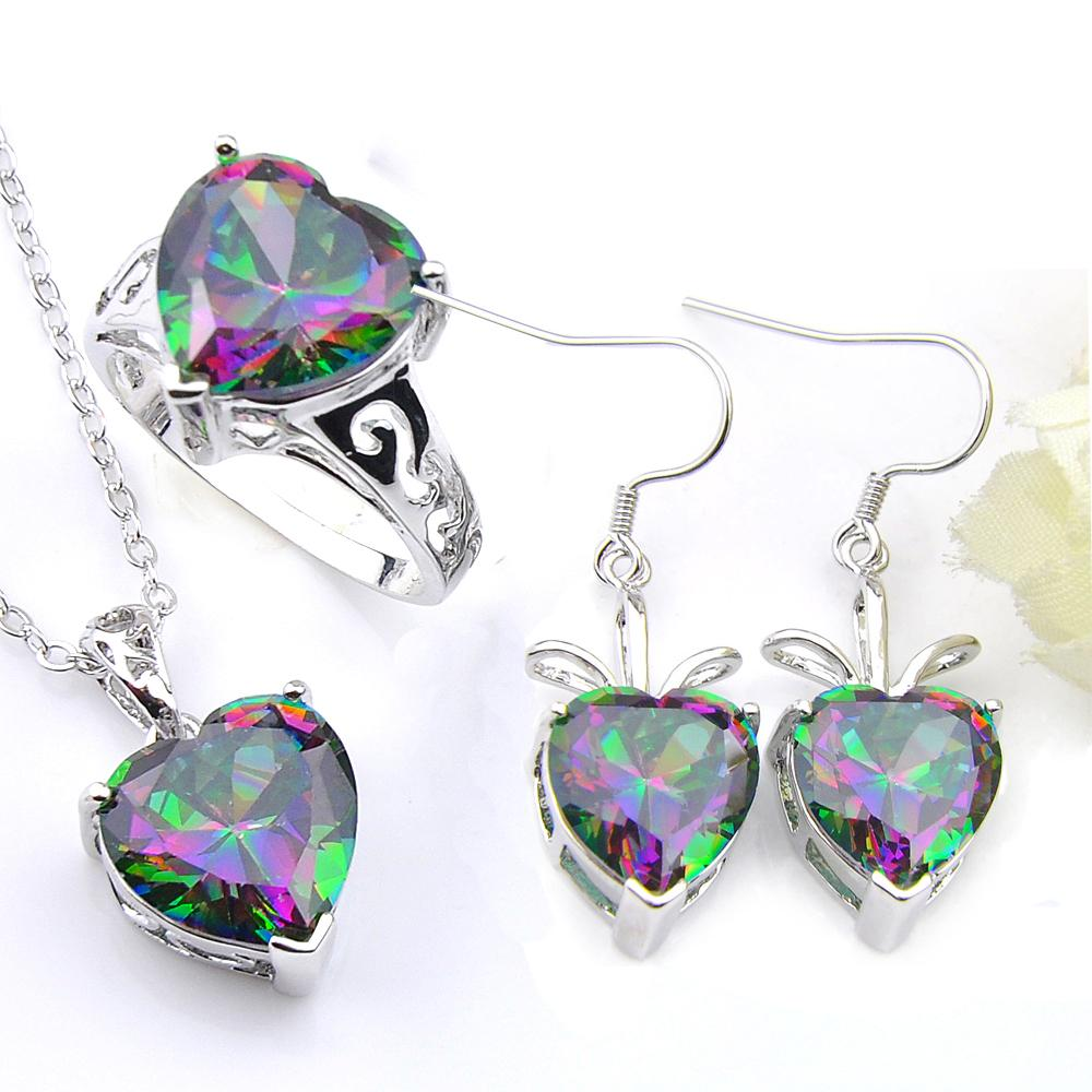 LuckyShine Valentine's Day Gift Fire Rainbow Heart Mystic Topaz 925 Sterling Silver Rings Pendants Earrings Jewelry Set Women Free Shipping