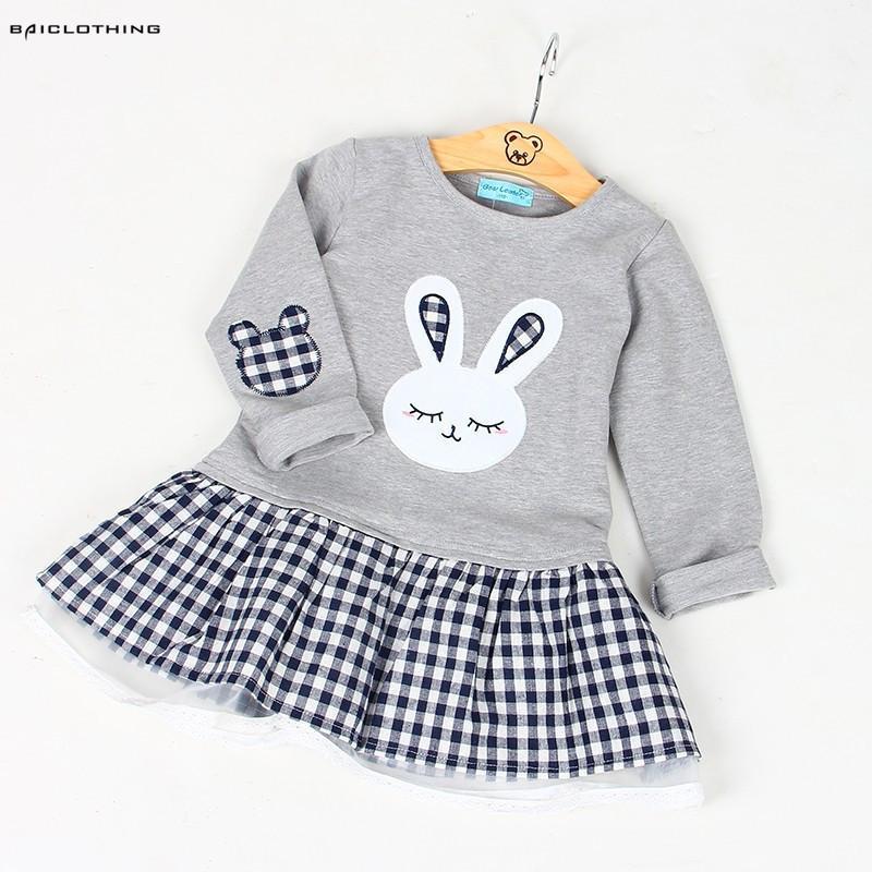 Высокое качество весна девочка ребенок с длинным рукавом мультфильм вышивка кролик платье принцессы одежда 3 дизайна Q190522