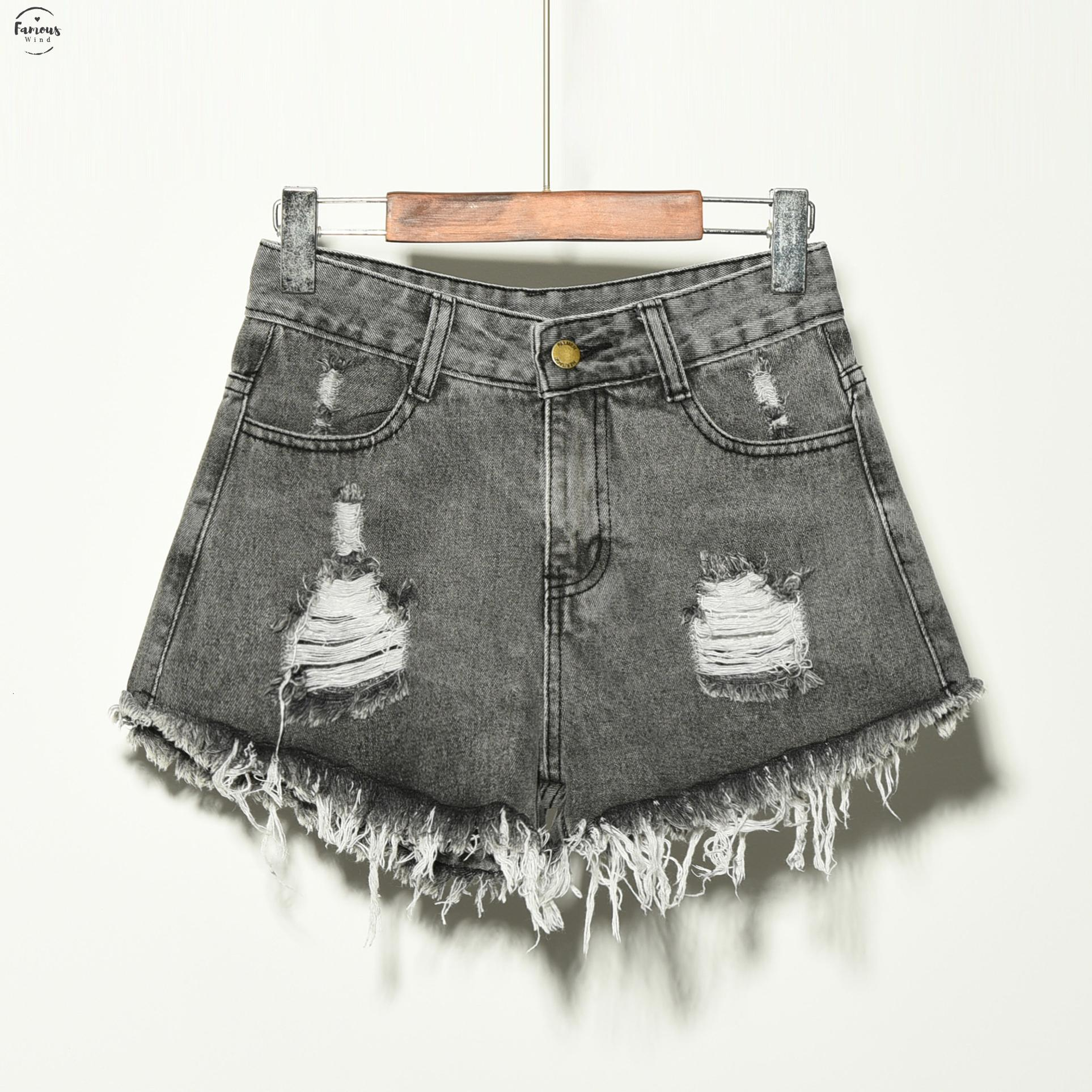 2019 caliente rasgado mujeres del bolsillo de pantalones cortos de verano de alta Casual Vintage agujero pantalones cortos de mezclilla para las mujeres envío de la gota