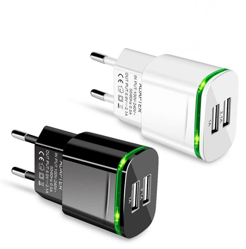 5V 2.1A Fast wall charger EU US LED Light Dual USB Ports Mobile Phone Wall Travel Power Charger Adapter For Samsung HTC LG