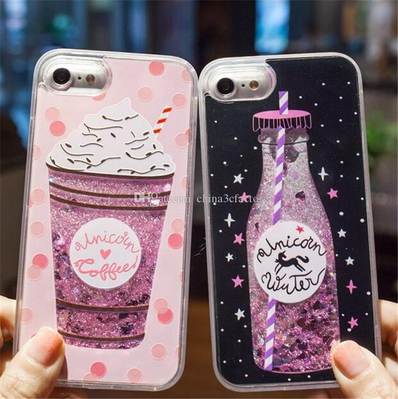 Glitter Liquid Quicksand Phone Cases para iPhone 6 6s Plus Funda de perfumería de Bling Unicorn para iPhone 7 8 Plus X Case