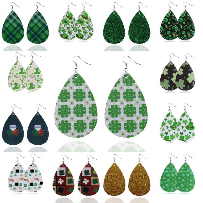 Clover PU-Leder-Ohrringe 15 Styles Klee-Muster Wassertropfen Kreative Ohrringe Charm Kunstleder-Ohrring-Haken-Schmucksachen