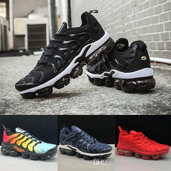 Nike Air VaporMax TN Plus Running shoes Triple Negro Blanco Foto de Sunset Blue Wolf Grey EE. UU. Zapatos de diseñador Zapatillas deportivas Entrenadores 36-45 sin caja