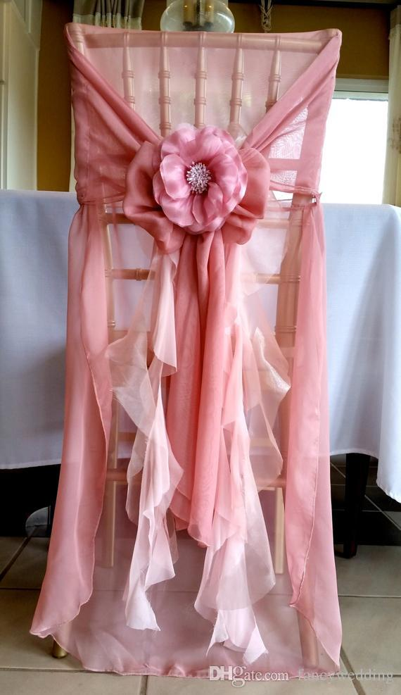 Custom Made Chiffon Flower Wedding Chair Covers Beautiful Cheap Wedding Party Decorations Vintage Chair Sashes Supplies C06