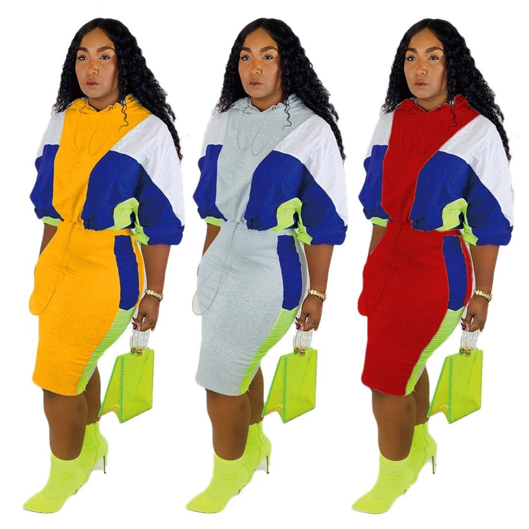 lange Hülse Patchwork Pullover dünn kurzes Kleid Trainingsanzug lässig Herbst Winter Kleidung Frauen Kapuzenpulli Rock 2 zwei Stück Outfits Sets