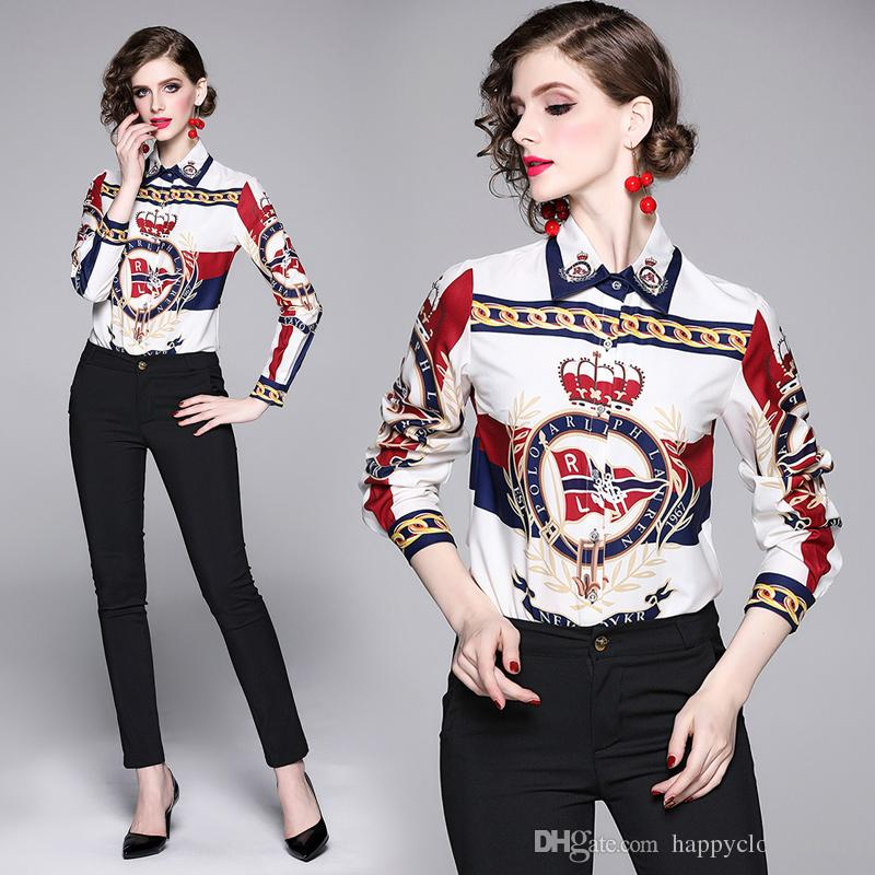 Top Selling Spring Fall Runway Women's Casual Print Shirts Blouses Elegant Office Lady Sexy Slim Button Front Print Collar Shirts Blouses