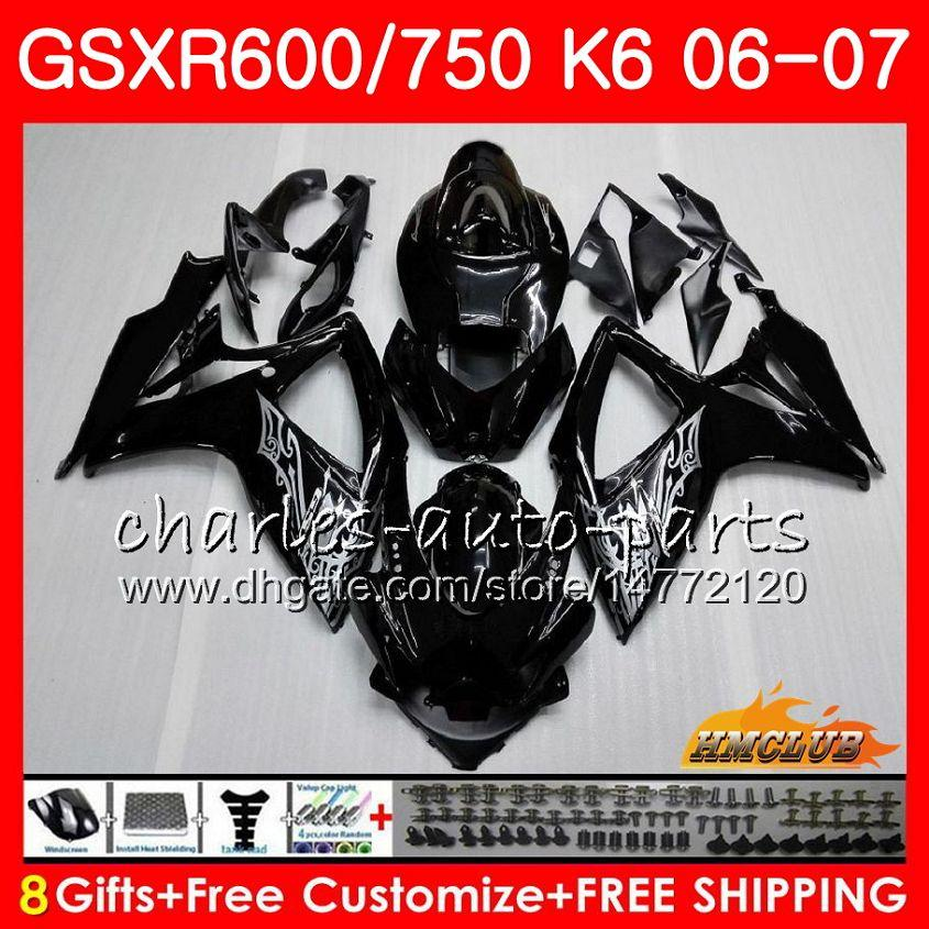 Kropp för Suzuki Glossy Black Hot GSX R600 GSX-R750 GSXR-600 GSXR600 06-07 8HC.9 GSX R750 GSXR 600 750 06 07 K6 GSXR750 2006 2007 FAIRING KIT