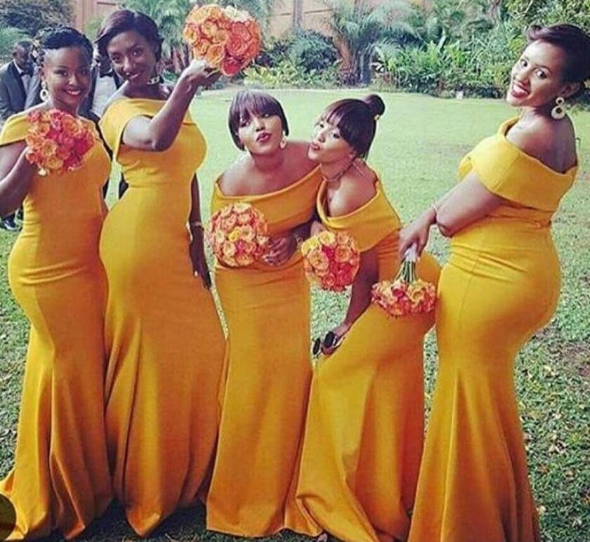 Vestidos de dama de honor de la longitud de la sirena larga de la longitud del hombro Longitud del piso del hombro Sudafricano Nigeria Maid of Honors Vestidos para la fiesta de la boda