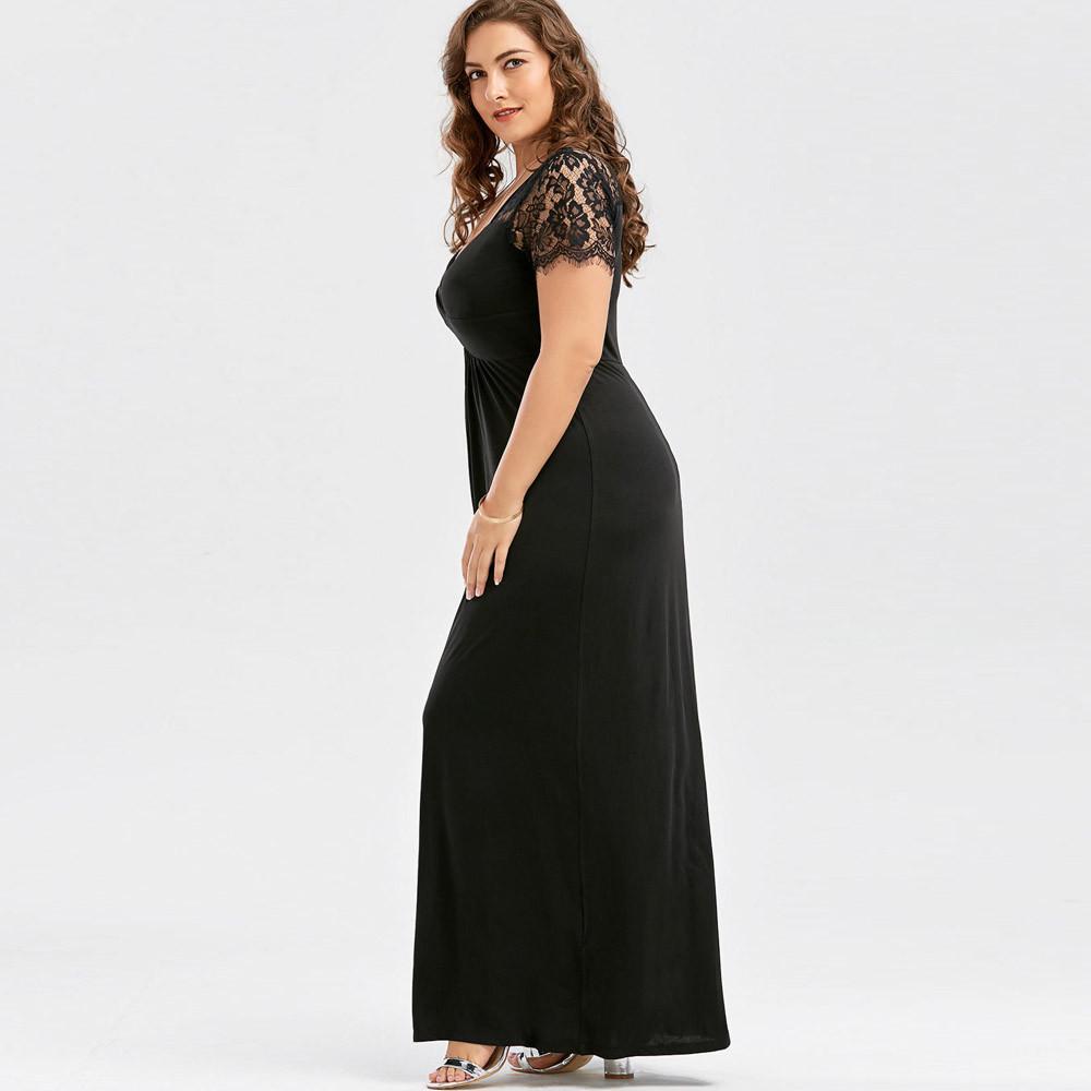 Maxi Dress Women Plus Size 5xl Long Sleeve Lace Long Evening Party Prom  Gown Formal Long Dress V Neck Robe Longue Vestido Sale Black Dresses  Evening ...
