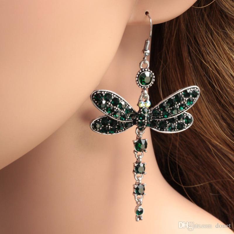 Tibetan Silver Dragonfly 925 Sterling Silver Hook Earrings. Green Diamante