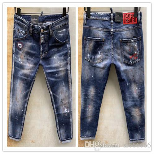 2020 nueva marca de jeans de moda de los hombres europeos y americanos ocasionales, lavado de alto grado, moler a mano puro, la optimización de la calidad de L929