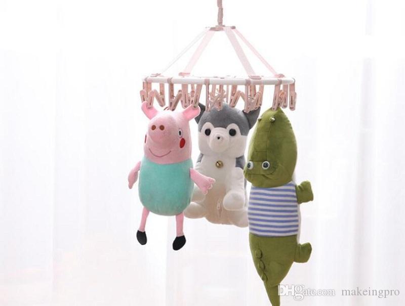 Plastic hanger drying rack multi-clip baby drying socks cool panties hook hanging baby inner clothes round multifunctional