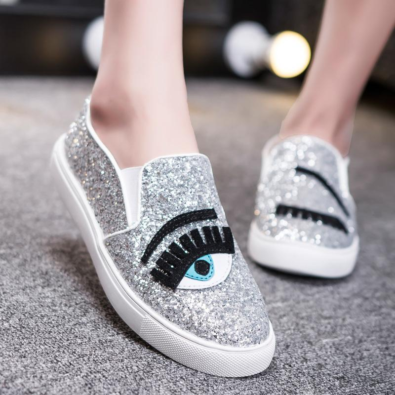 new arrival 2af53 cbecf Gold Chiara Ferragni Flats Round Toe Zapatos Mujer Glitter Eyelash Flats  Espadrilles Blink Eye Shoes Women Lazy Loafers Flat Shoes Yellow Shoes From  ...