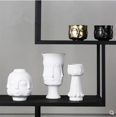 Vase modèle de visage en céramique, artisanat d'art créatif, décoration de bureau à la maison, des cadeaux de mobilier moderne
