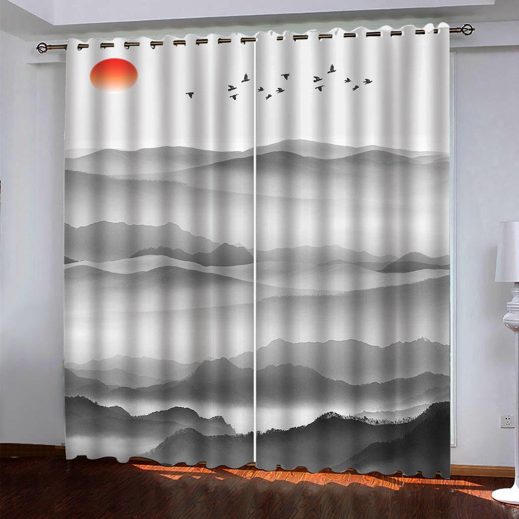 Einfache graue Vorhänge uxury Blackout 3D-Fenster Vorhänge für Wohnzimmer Schlafzimmer Verdunklungsvorhänge