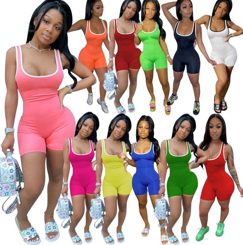 المرأة الصيف بذلة السروال القصير الهيئة غير الرسمية أزياء اليوغا سروال بيجامة للياقة البدنية مصمم نيسيس أكمام سليم عارضة Playsuit ملابس DHL 8869