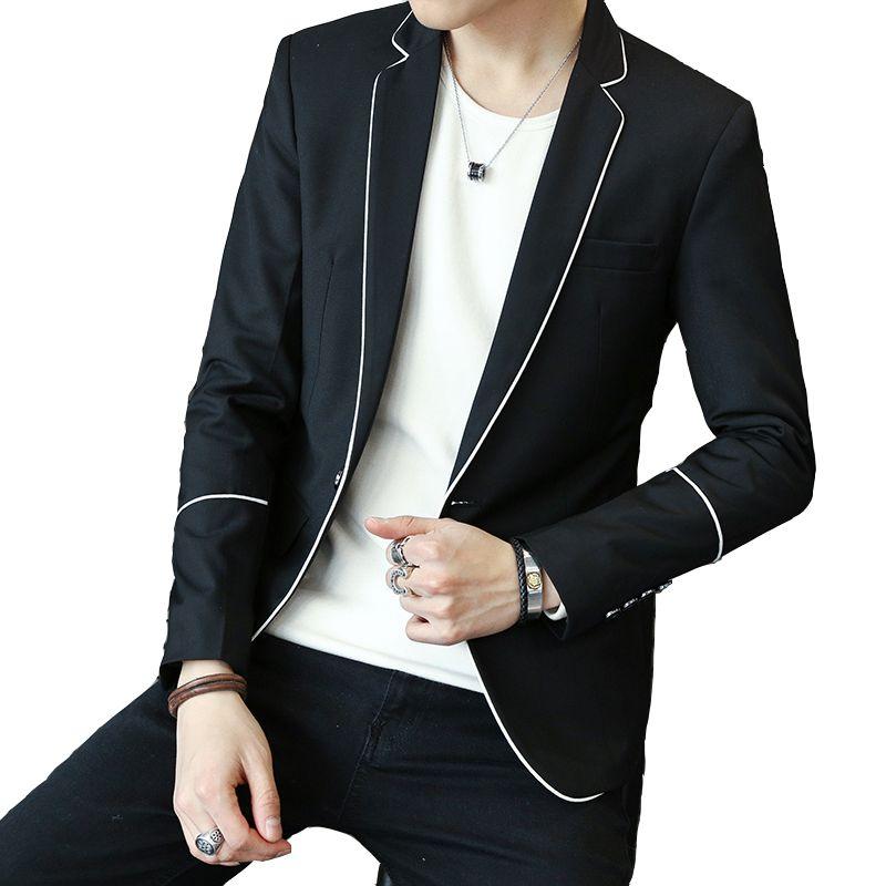Uomo Abbigliamento sportive casuali del rivestimento del vestito di trasporto di goccia Slim Fit M-3XL bianco nero all'ingrosso grigio maschio Solido Blazer