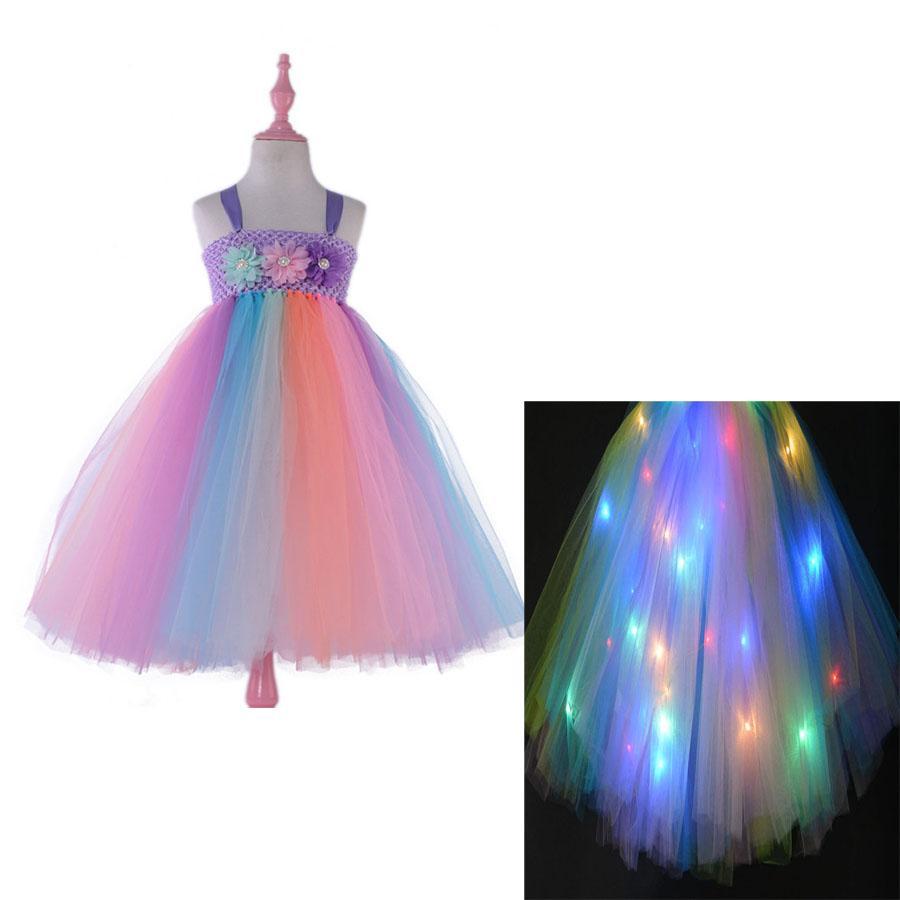 빛나는 어린이 꽃 드레스 소녀 코스프레 댄스 파티 의상 어린이 공주 레이스 드레스 할로윈 파티 투투 2T-9T