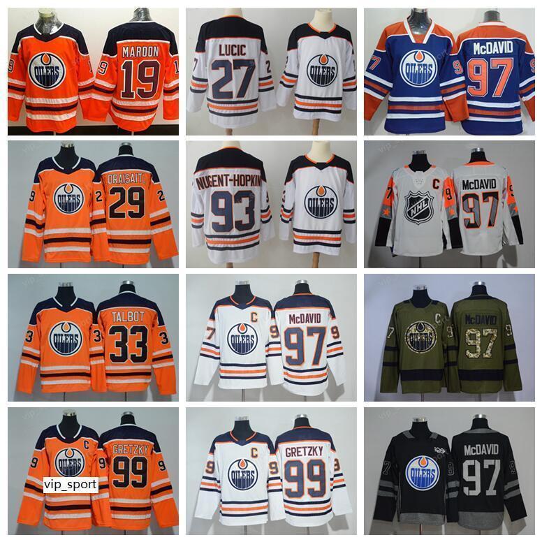 Gelo Hóquei Edmonton Oilers Jerseys Man 19 Patrick Maroon 29 Leon Draisaitl Jersey 19 Patrick Maroon 33 Cam Talbot Ryan Nugent-Hopkins