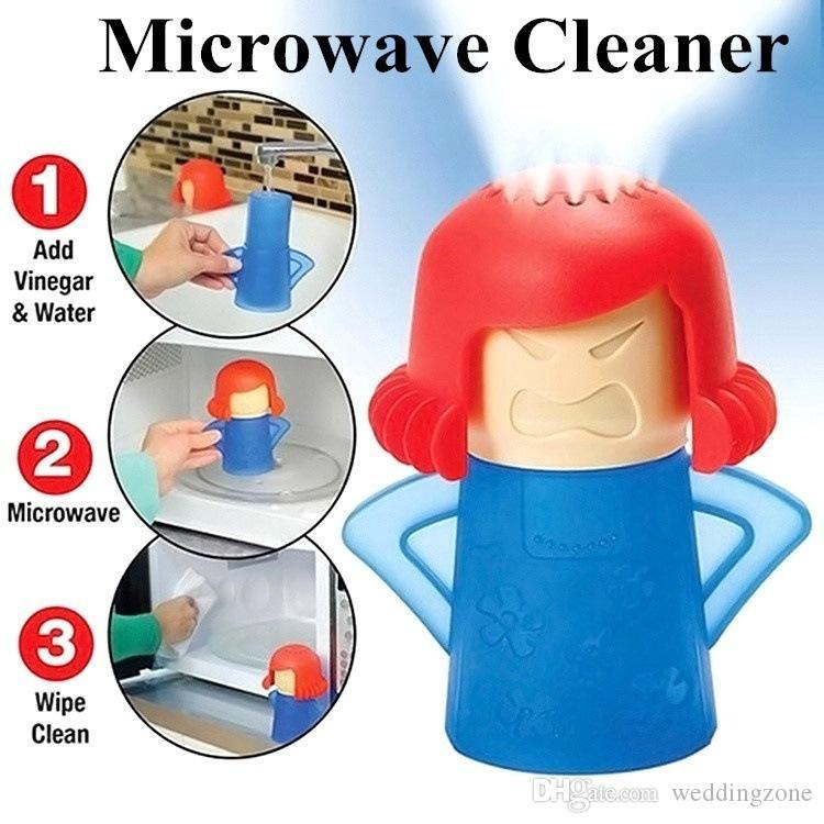 فرن مايكرويف منظف بالبخار Angry Mama ينظف بسهولة مع الخل والبخار المائي ينظف المطهرات أدوات المطبخ المنزلية التنظيف