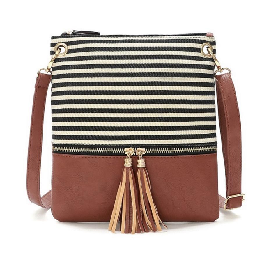 Mulheres Stripe PU Bag Crossbody Couro Canvas Patchwork Borla Bolsa De Costura De Costura De Contraste Sacos OOA7599-13N BXUKM