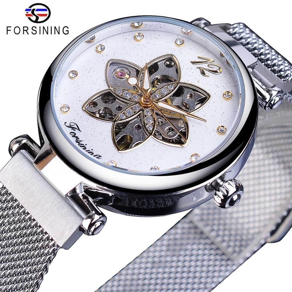 Forsining الميكانيكية للمرأة ووتش للماء التلقائية عارضة ساعة شبكة فضة مضيئة اليد سليم أزياء الماس السيدات ووتش