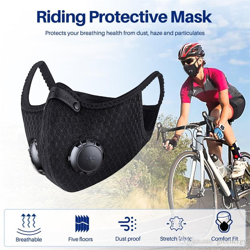 Designer Cycling Protective Face Masks With Values Filter Black Activated Carbon PM2.5 Anti- Dust Sports Training Road Bike Reusable Masks