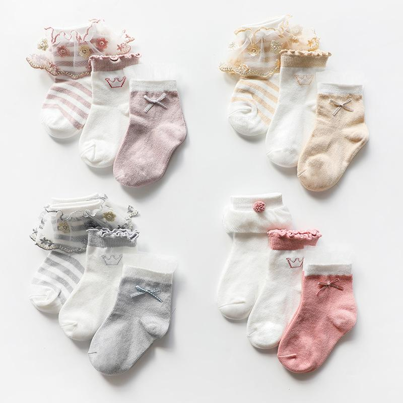 12 Style New Baby Girls Lace Socks Crown Bow Socks 3pair/lot Kids Middle Tube Sock for Children Princess Sock M1353