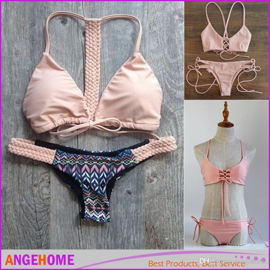 Großhandel 2016 sexy Bademoden Bikini süßen rosa Verband Bikini Europa und Amerika Badeanzug Bademode maillot Badeanzug