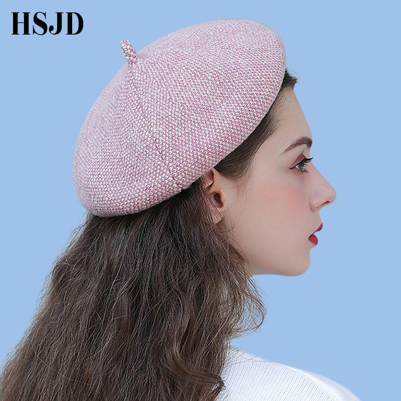 قبعات ليدي سبرينغ الشتوية قبعة رسامة Octagonal طراز قبعة نساء صوف القبعات العتيقة Bonnet الفنان الدافئ Newsboy قبعات