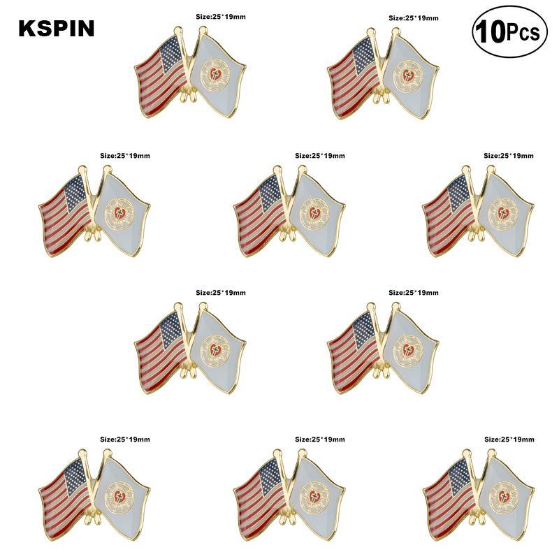 U.S.A & Lutheran Lapel Pin Flag badge Brooch Pins Badges 10Pcs a Lot
