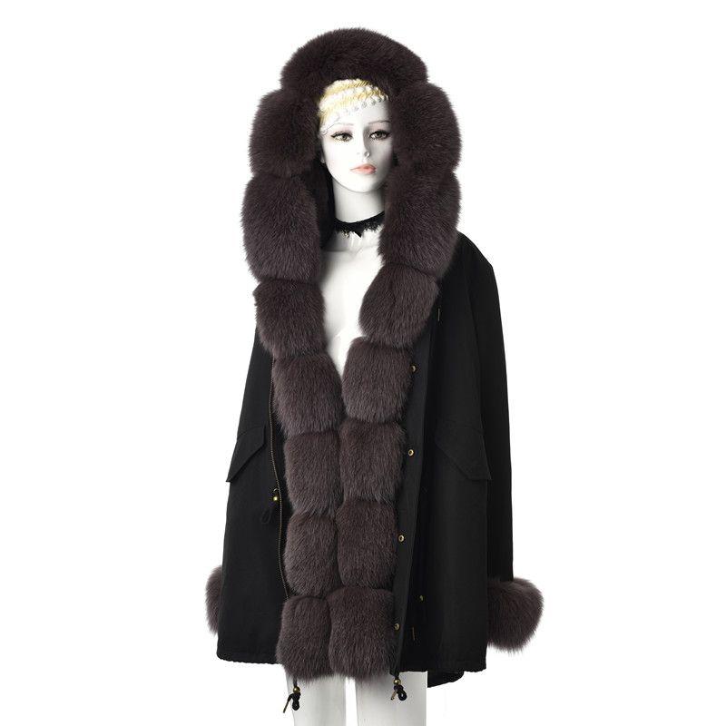 Tatyana Furclub Fourrure véritable parka pour les femmes d'hiver Outwear épais chaud fourrure veste avec col naturel front gris Parkas Manteaux