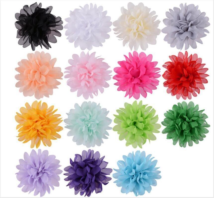 Fleurs artificielles mousseline de soie fleurs colorées pour les cheveux en tissu chapeau 15 couleurs bricolage Coiffe Accueil Centerpieces Party décoration DHL